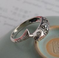 Flame 925 pure silver jewelry vintage thai silver mark race vintage dollarfish lotus women's ring
