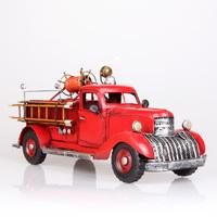 Fashion american vintage fire truck iron metal truck model decoration