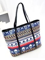 new 2014 women's handbag print stripe vintage skull bag shoulder bag handbag large kull handbag