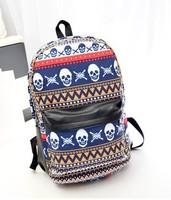 Vintage skull backpack back double-shoulder stripe print preppy style student school bag casual women's skull bag
