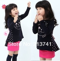 (5pcs/1lot free shipping) New Fashion Lovely Bow Cat Dot Girl Blouse / Long tops / Dovetail Skirt For Kids Children Black Pink