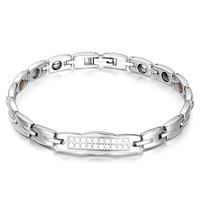 Free shipping women health titanium aaa zircon negative ion bracelet