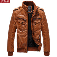 Leather clothing jacket tidal current male short design stand collar slim PU outerwear motorcycle 2012