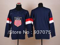 Cheap 2014 Sochi Olympic Team American USA Blue Home Hockey Jerseys Free Shipping New Arrivest Ice Winter Sports Jersey