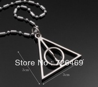 [1pcs for free shipping] Hot Harry Potter - Deathly Hallows Charm Pendant Necklace With Classical Moive Jewelry