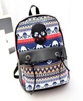 Free shipping 2014 new printing backpack student school bag lovers skull backpack travel bag big bag kull