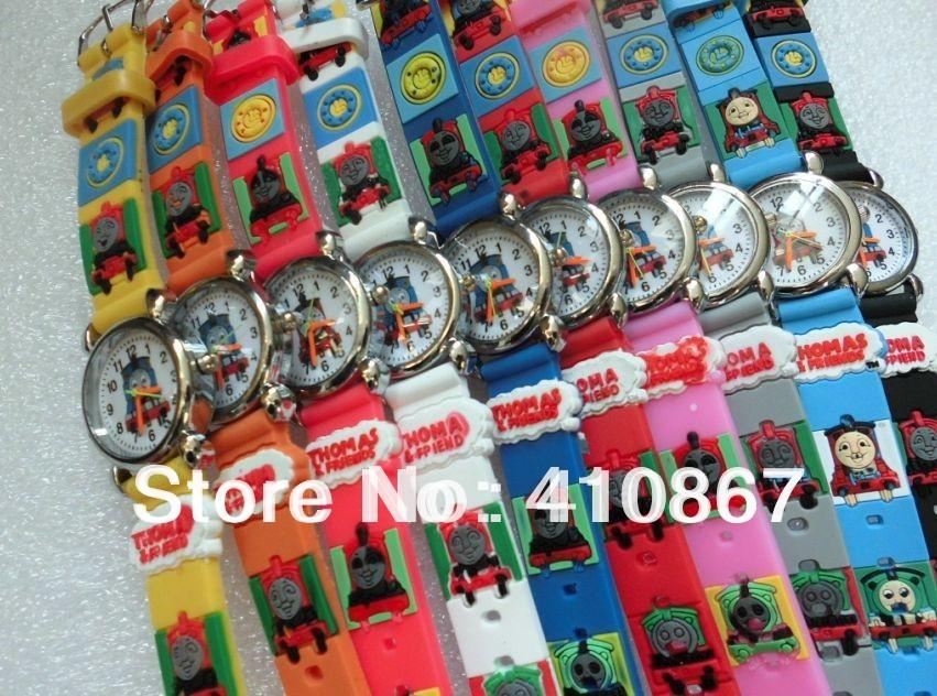 Free shipping wrist Watches Thomas Train 3D! 50pcs/lot Children watch cartoons Quartz/send Extra batteries(China (Mainland))