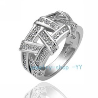 18K platinum jewelry Weave 18K Gold Plated Ring Health Jewelry Nickel Free K platinum Plating Platinum Austrian Crystal_R062