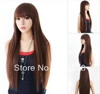 South Korea live models fluffy hair wig long straight hair girls hair dark brown lifelike
