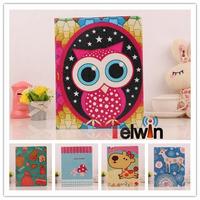 Free shipping Fashion luxury Cute Owl Dog Mushrooms Cartoon Style flip leather case for apple iPad 2 3 4 ,Gift 1pcs Stylus Pen