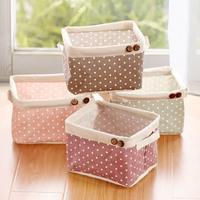 Free shipping Zakka wood button polka dot fluid storage basket desktop cosmetics small storage box sn1531