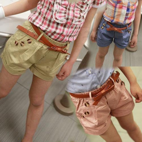 Лето! корейский девочки хлопок шорты девочки-младенцы короткая с ремень
