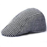 Men winter hats Korean woolen visors men women warm plaid Hunting cap 56-58cm hats cotton men cap winter visor