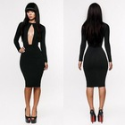 2014 womens fashion club  bodycon bandage dress sexy women Long Sleeve elegant black dress(China (Mainland))