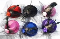 "Mini Top Hat, Hairclip Fascinator, 5"" in diameter, Wedding hat"