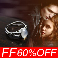 [Free Shipping For 1 Pcs] Hot 2013 Classic Bella Engagement Twilight Moonstone 925 Sterling Silver Wedding Lady Ring Jewelry