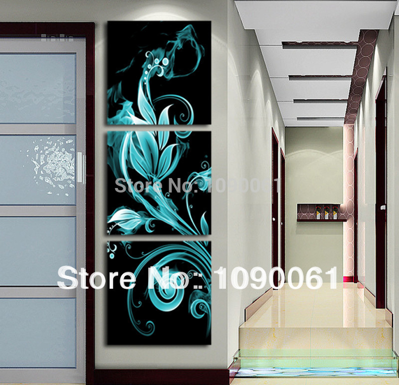 buy handmade 3 piece wall art blue flower. Black Bedroom Furniture Sets. Home Design Ideas