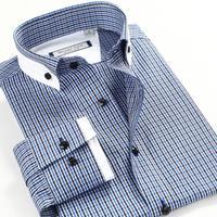 New 2014 Autumn-Summer Men Shirt Long Sleeve Business casual plaid shirt male fashion Big size XS-3XL 4XL 5XL