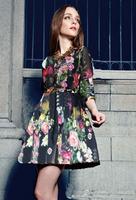 Free Shipping!2014Spring New Style High Quality Above Knee Three Quarter Sleeve Runway Brand Silk Women Flower Print Dress