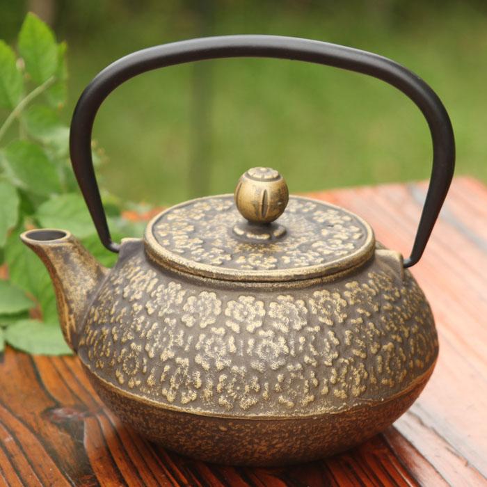 Japanese style tea set japanese style handmade iron pot copper cast iron pot single pot cast iron pot Large coating(China (Mainland))