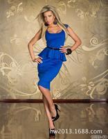 2015 new arrive  sexy dress party flouncing deep U -neck tunic dress with belt | clubwear | sexy blue manufacturers -041