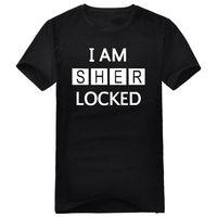 Freee shipping I AM SHER LOCKED T-SHIRT SHERLOCK HOLMES TSHIRT TV MOVIE MENS WOMENS short sleeve round neck plus plus size