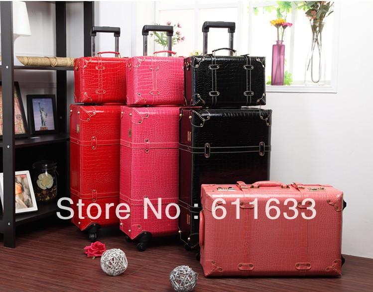 Red Vintage Suitcase Luggage Female Red Vintage