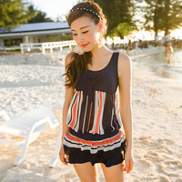 Small peach swimwear female vicki2014 swimwear fashion stripe one-piece dress plus size mm swimwear