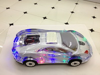 Crystal Lamborgh Mini Car Model stereo Speaker TF Card USB Flash Drive Double Horn FM Radio Subwoofer Toy Audio MP3 Player