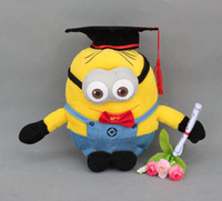 "Free shipping 3pcs / set Despicable ME Movie Plush Toy 8"" Minion Jorge Stewart Dave Cushion Dolls for graduation gifts"
