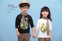 2014 new arrival spring children kids child cartoon animal leopard boys girls suit clothing set 3T-10
