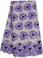 2014 african wedding lace fabric with stone,Beige+purple+lilac 100% cotton swiss voile lace high quality,5 yards,TKL3069