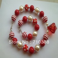 Big red water drop pandent baby jewelry set Striped beads cute necklace&bracelet  1set  free shipment