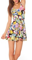 EAST KNITTING fashion G9 HOT Women digital print pleated Adventure Time Bro Ball Reversible Skater Dress S M L XL Plus Size