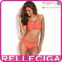 RELLECIGA Sexy Bandeau Bikini Set Swimwear - Neon Orange Strappy Push-Up Top & Stretchy Cheeky Low Waist Bottom Women Swimsuit