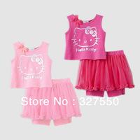 3sets/lot baby girls summer Hello Kitty 2pcs suit clothing sets varabow vest leggings yarn skirt girls T-shirt GDT-328