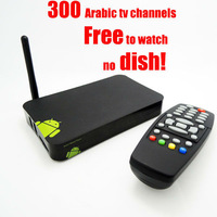no monthly payment free arabic tv box ip tv google android 4.2 tv box with remote control over 600 free channels