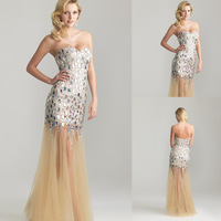 Gold Sequins Beaded Tulle Bottom Sweetheart Bara Back One Hand Evening Dresses