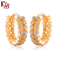2014  Full Rhinestone Ear Buckle Delicate Gold Filled Jewelry  Women Earrings Vintage