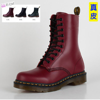 Plus size red Wine blackish green maroon genuine leather knee-high flat plus cotton martin boots motorcycle boots fashion female