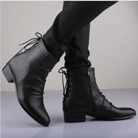 Fashion fashion boots fashion male high leather boots pointed toe back strap male boots motorcycle boots male 1
