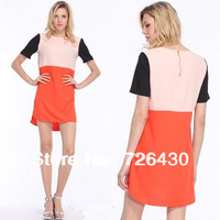 Women New Casual Dress Crew Neck Color Block Stitching Chiffon Short Sleeve Dress Back Zipper