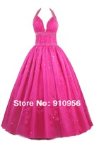 2014 New Fashion Hot Pink Sequins Beads Halter Sexy Deep V-Neck Long Formal Party Dress Prom Quinceanera Gown Cheap Price