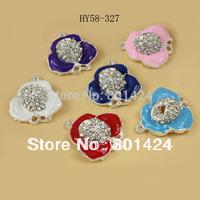 free shipping 58-327 5pcs jewelry finding enamel zinc alloy flower rhinestone connector floating charm