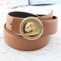 Free shipping Rhinestone leopard head strap male genuine leather male cowhide belt commercial waist of trousers belt