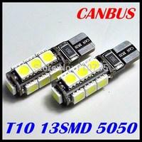 Free Shipping 20pcs/lot t10 5050 13led car light Car Canbus LED Lamp Error Free T10 W5W 194 5050 SMD 13 LED White Light Bulbs