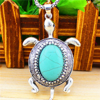 Vintage Look Anitque Silver Plated Cute Animal Turtle Pendant Turquoise Necklace TN71
