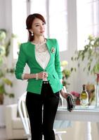 2014 New Arrival Plus Size EUR Fashion Women Coat Green White Color Blazer Slim Fit Coat Cotton Leisure Suit Lady Jacket A648