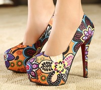 2014 hot  Spring  Bohemia floral office lady High heels red bottom Shoes women pumps shoes 13 cm high heels Free shipping G49