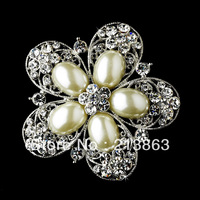 Free shipping! New design wholesale price imitation rhodium big half pearl rhinestone flower brooch